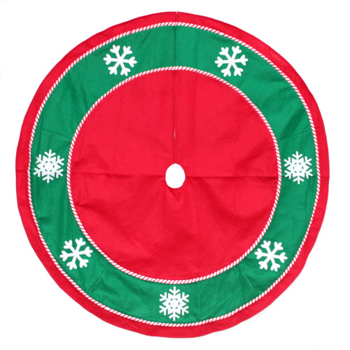 "48"" Red and Green Snowflakes Christmas Tree Skirt - IMAGE 1"
