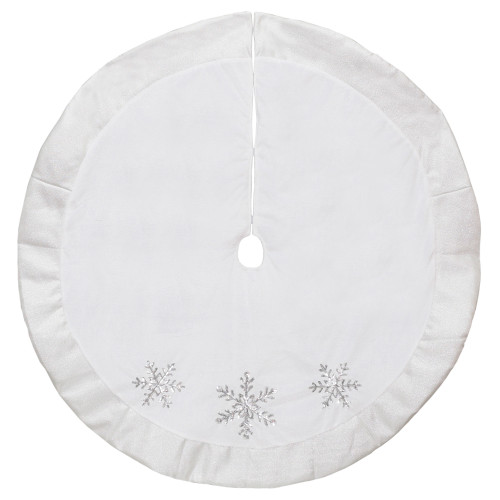 """48"""" White and Silver Embroidered Sequin Snowflakes Tree Skirt - IMAGE 1"""