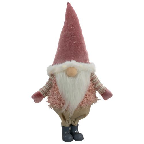 "16"" Mauve Standing Boy LED Lighted Christmas Gnome Figure - IMAGE 1"