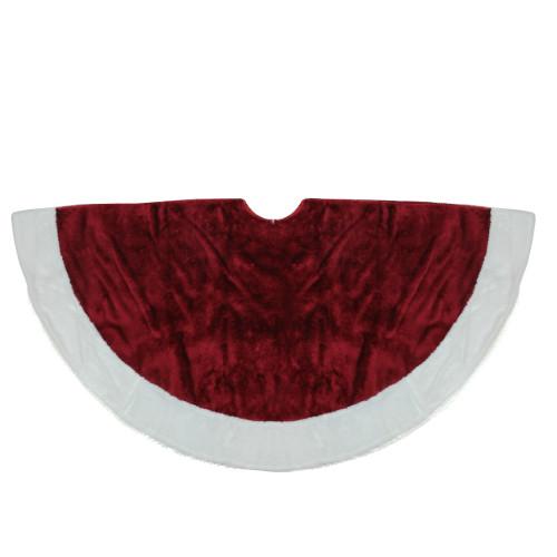 """48"""" White and Burgundy Plush Christmas Tree Skirt - IMAGE 1"""