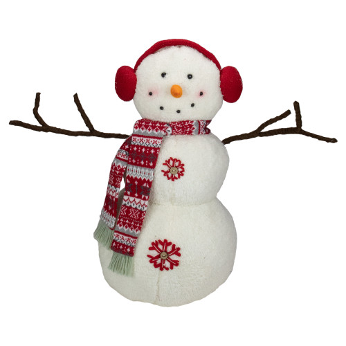 21.5-Inch White and Red Snowflake Sherpa Plush Snowman Christmas Decoration - IMAGE 1