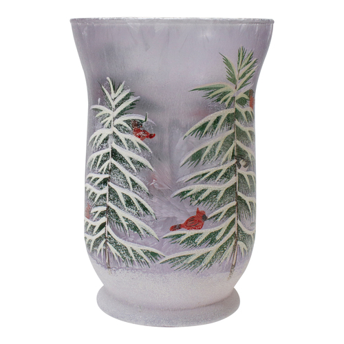 "8"" Hand-Painted Pine and Birds Flameless Glass Christmas Candle Holder - IMAGE 1"