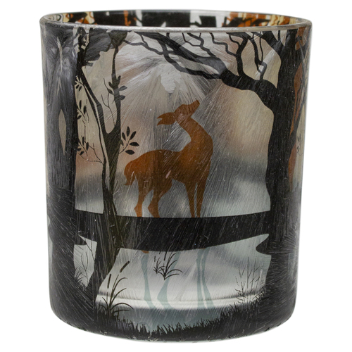 """3"""" Hand Painted Forest and Deer Flameless Glass Candle Holder - IMAGE 1"""