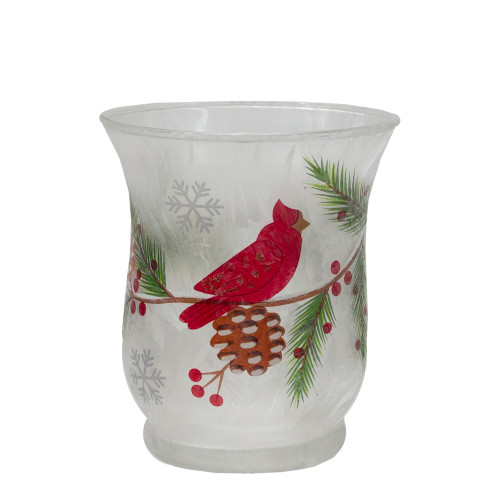 "2.75"" Hand Painted Christmas Cardinal and Pine Flameless Glass Candle Holder - IMAGE 1"