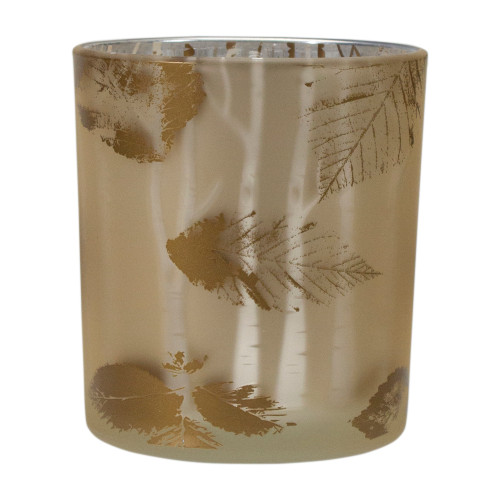 """3"""" Shiny Gold and White Birch Leaves Flameless Glass Candle Holder - IMAGE 1"""