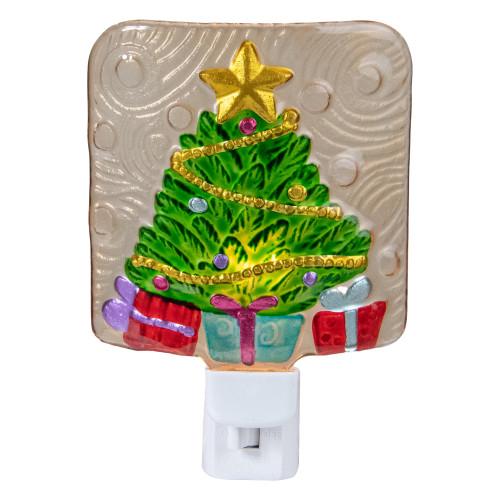 "4"" Green and Gold Christmas Tree Night Light - IMAGE 1"