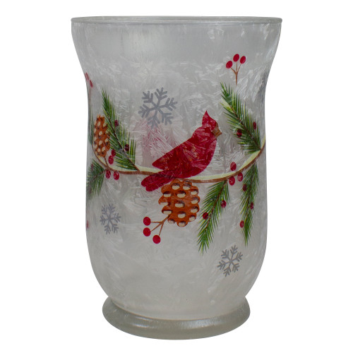 "4"" Hand Painted Christmas Cardinal and Pine Flameless Glass Candle Holder - IMAGE 1"