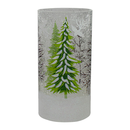 "8"" Hand Painted Christmas Pine Trees Flameless Glass Candle Holder - IMAGE 1"