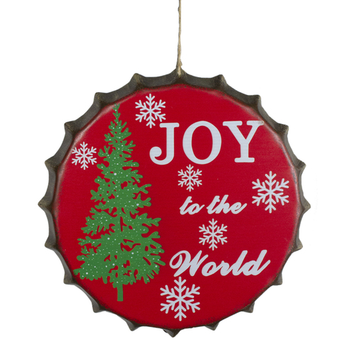 """12"""" Red and Green Joy to the World Christmas Wall Decor - IMAGE 1"""