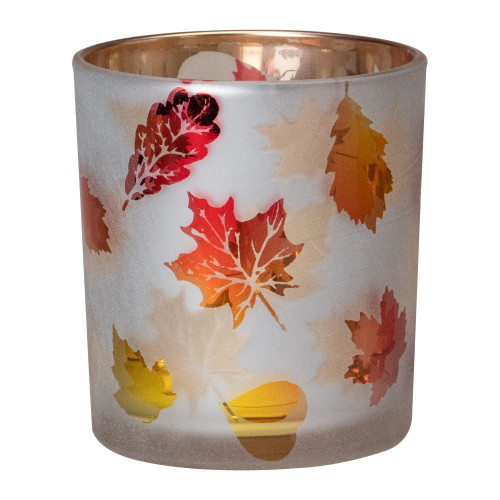 "3"" Matte White and Gold Autumn Leaves Flameless Glass Candle Holder - IMAGE 1"