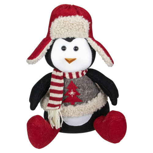 """12"""" Red, White, and Gray Sitting Winter Penguin Christmas Tabletop Decoration - IMAGE 1"""
