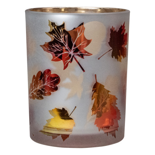 "5"" Matte White and Gold Autumn Leaves Flameless Glass Candle Holder - IMAGE 1"