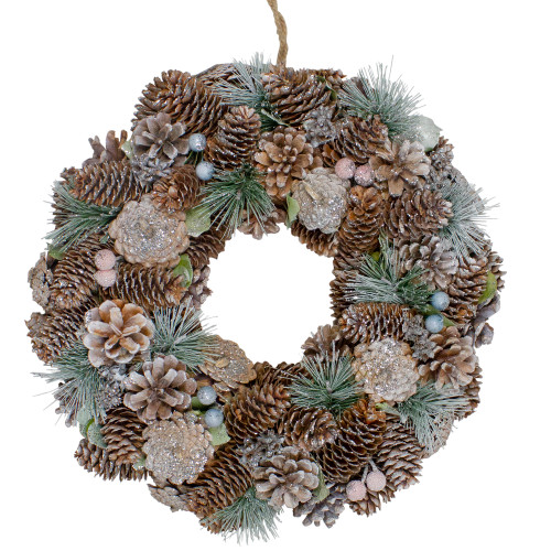 "13"" Green and Brown Glitter Pinecones and Berries Christmas Wreath - IMAGE 1"