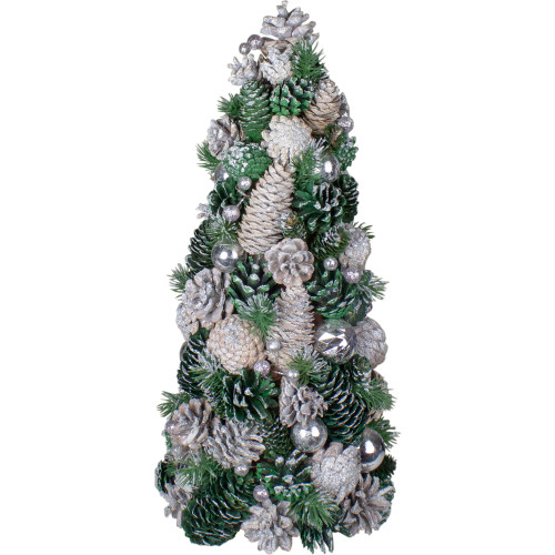 """18"""" Green and Silver Pinecone With Ornaments Table Top Cone Christmas Tree Embellished in Glitter - IMAGE 1"""
