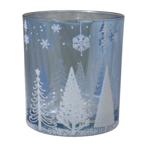 "3"" Shiny Blue and Silver Forest and Snowflake Flameless Glass Candle Holder - IMAGE 1"