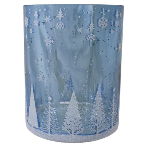 6.25-Inch Shiny Blue and Silver Winter Forest and Snowflake Flameless Candle Holder - IMAGE 1