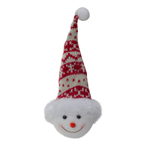 """7"""" Smiling Snowman Head Wearing A Winter Hat Christmas Ornament - IMAGE 1"""