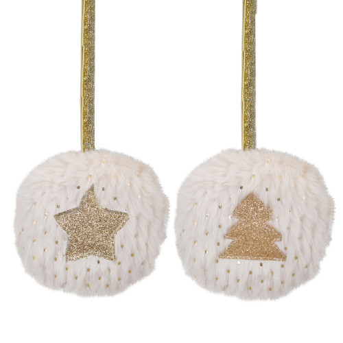 """Set of 2 Cream and Beige Star and Christmas Tree Ornaments 3.5"""" - IMAGE 1"""