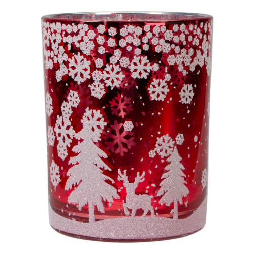 "5"" Red and Shiny Silver Deer in Winter Woods Flameless Candle Holder - IMAGE 1"