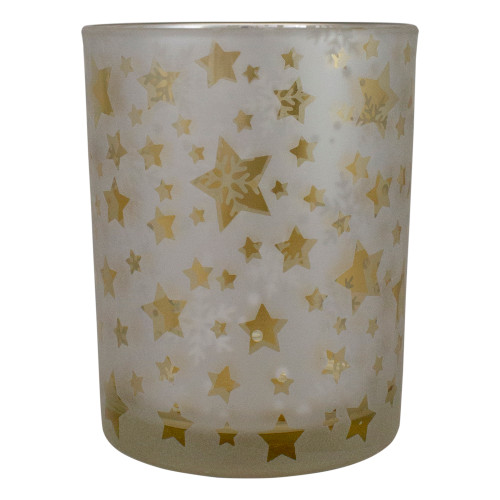 "5"" Matte Silver and Gold Stars and Snowflakes Flameless Glass Candle Holder - IMAGE 1"