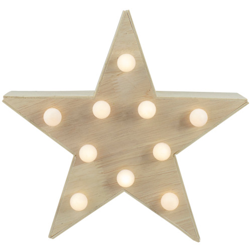 """9.25"""" Lighted 5 Point Wooden Star Christmas Tabletop Decor - IMAGE 1"""