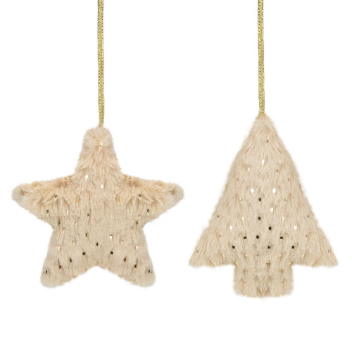 """Set of 2 Beige Faux Fur Star and Christmas Tree With Sequin Ornaments - 4.25"""" - IMAGE 1"""