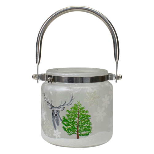 """4"""" Deer, Pine and Snowflakes Hand Painted Flameless Glass Candle Lantern - IMAGE 1"""