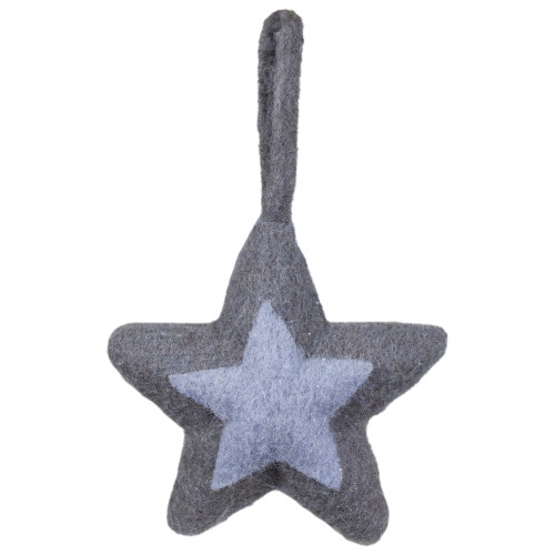 "6.25"" Shades of Gray Felt Star Christmas Ornament - IMAGE 1"