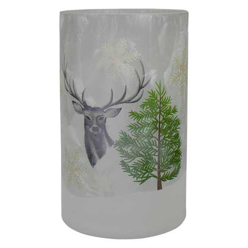 """10"""" Deer, Pine and Snowflakes Hand Painted Flameless Glass Christmas Candle Holder - IMAGE 1"""