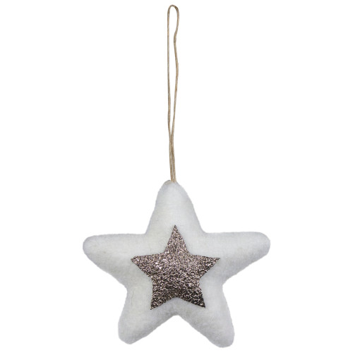 """3.75"""" White and Silver Star Hanging Christmas Ornament - IMAGE 1"""
