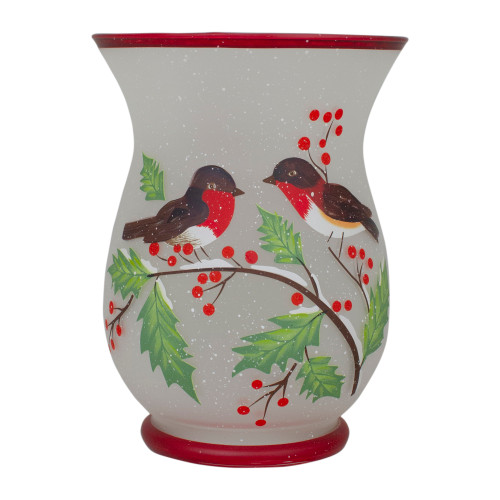 8-Inch Hand Painted Finches and Pine Flameless Glass Candle Holder - IMAGE 1