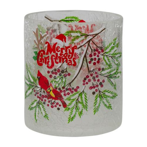 "8"" Hand Painted Christmas Cardinal and Pine Flameless Glass Christmas Candle Holder - IMAGE 1"