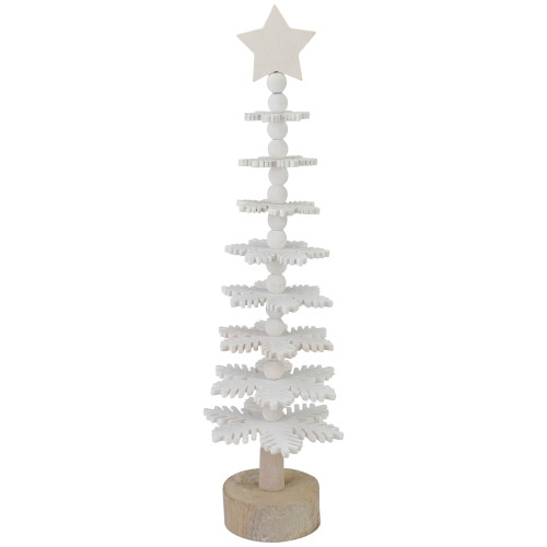 "16"" White Wooden Snowflake Cutout Christmas Tree With a Star - IMAGE 1"