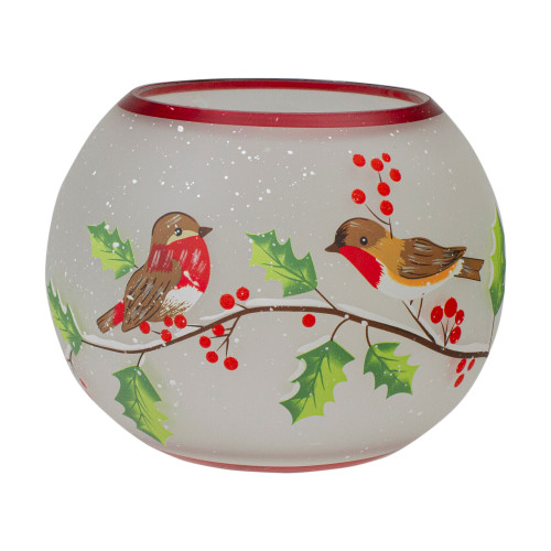 5-Inch Hand Painted Finches and Pine Flameless Glass Candle Holder - IMAGE 1