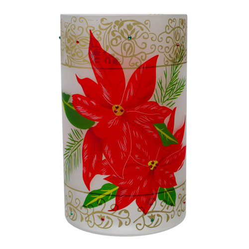 """10"""" Hand-Painted Red Poinsettias and Gold Flameless Glass Christmas Candle Holder - IMAGE 1"""