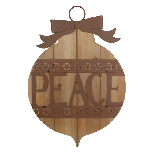 """17"""" Rustic Brown PEACE Christmas Ornament Wall Sign - IMAGE 1"""