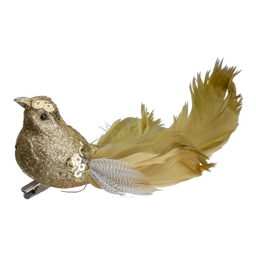 """6.75"""" Gold Sequined and Glittered Clip-On Bird Christmas Ornament - IMAGE 1"""