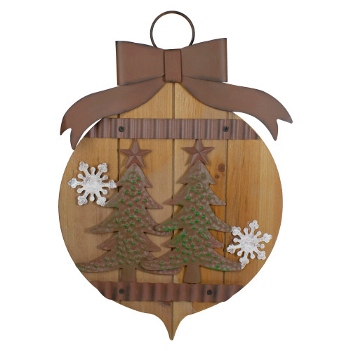 """17.5"""" Rustic Brown Christmas Trees and Snowflakes Wall Sign - IMAGE 1"""