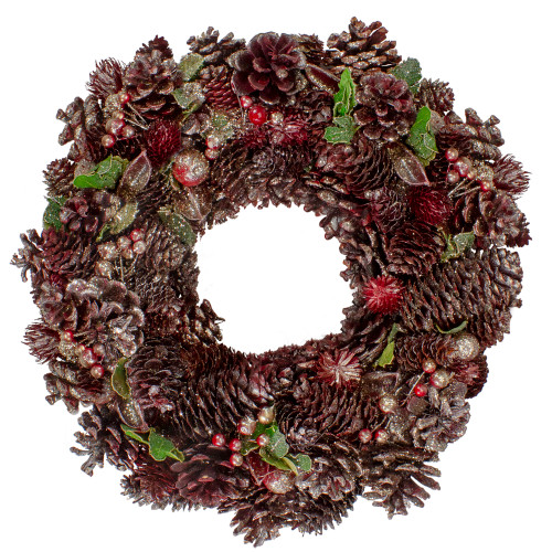 """13"""" Red and Gold Glittered Pine Cone and Berry Christmas Wreath - IMAGE 1"""