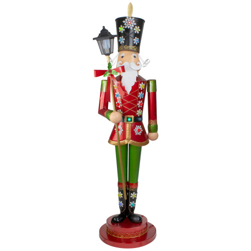 """52"""" Red and Green Lighted Nutcracker with Lantern Christmas Decoration - IMAGE 1"""
