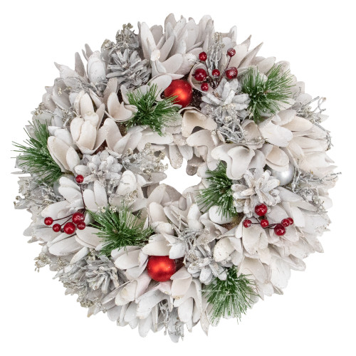 14in White Wooden Flower and Pinecone Christmas Wreath - IMAGE 1