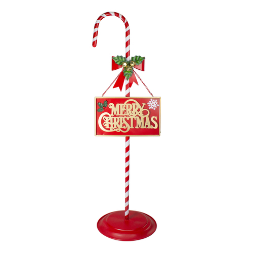 """39"""" Red and White Merry Christmas Outdoor Candy Cane Sign - IMAGE 1"""