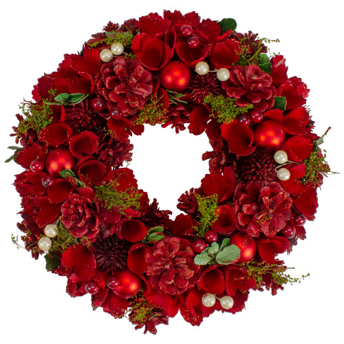 """12"""" Red and Green Floral With Berries Christmas Wreath -Unlit - IMAGE 1"""