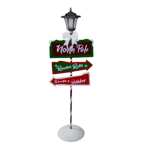 49.5-Inch Solar-Powered North Pole Light Up Lantern Post Christmas Sign - IMAGE 1