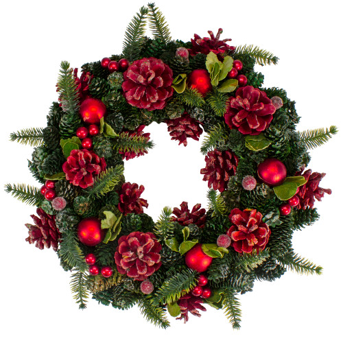 """13"""" Red and Green Pine Cones and Ornaments Christmas Wreath - IMAGE 1"""