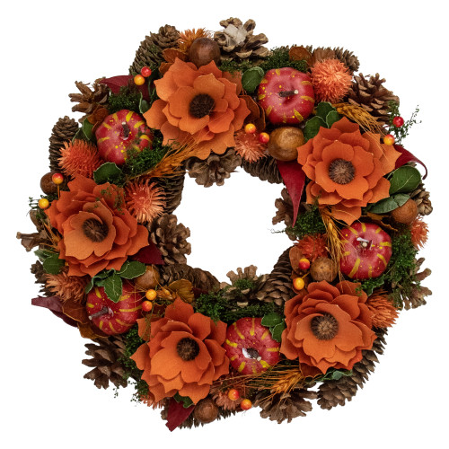 Orange and Red Fall Wreath With Gourds and Flowers - 13.25-Inch, Unlit - IMAGE 1
