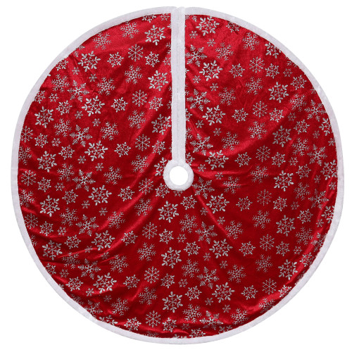 "48"" Red and White Snowflake Christmas Tree Skirt with a White Border - IMAGE 1"