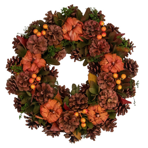 Brown and Orange Fall Wreath With Pumpkins and Pinecones - 13.75 Inch, Unlit - IMAGE 1