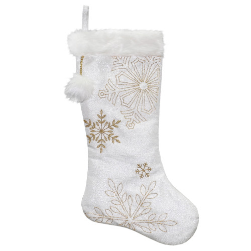 "20"" White with Gold Snowflakes Christmas Stocking with Cuff - IMAGE 1"