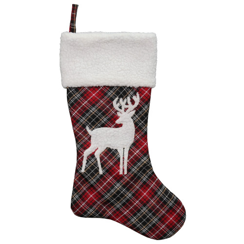 """20"""" Black and Red Tartan Reindeer Christmas Stocking with Cuff - IMAGE 1"""